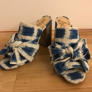 Sam Edelman blue and white gingham bow mule
